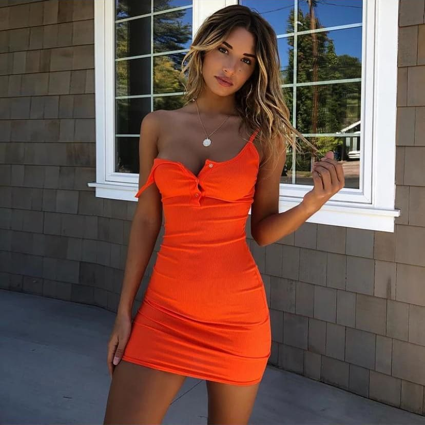 Sexy short knit orange camisole slip dress