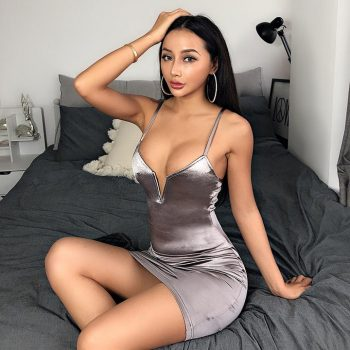 Sexy deep v-neck satin bodycon grey tank mini dress
