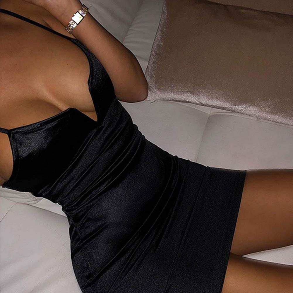 Sexy v-neck mini bodycon black satin slip dress