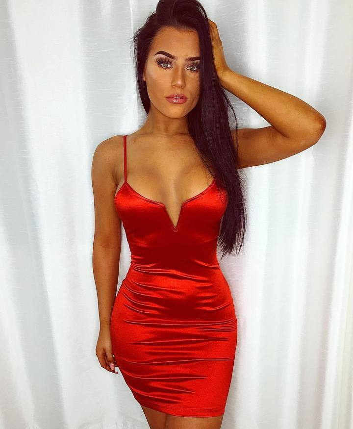 Sexy deep v-neck slip bodycon red satin mini dress