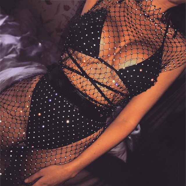 Sexy see-through black mesh club dress