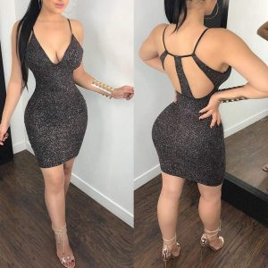 Sexy short black sparkly fitted dress