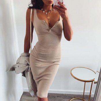 Sleeveless apricot knee length knit dress
