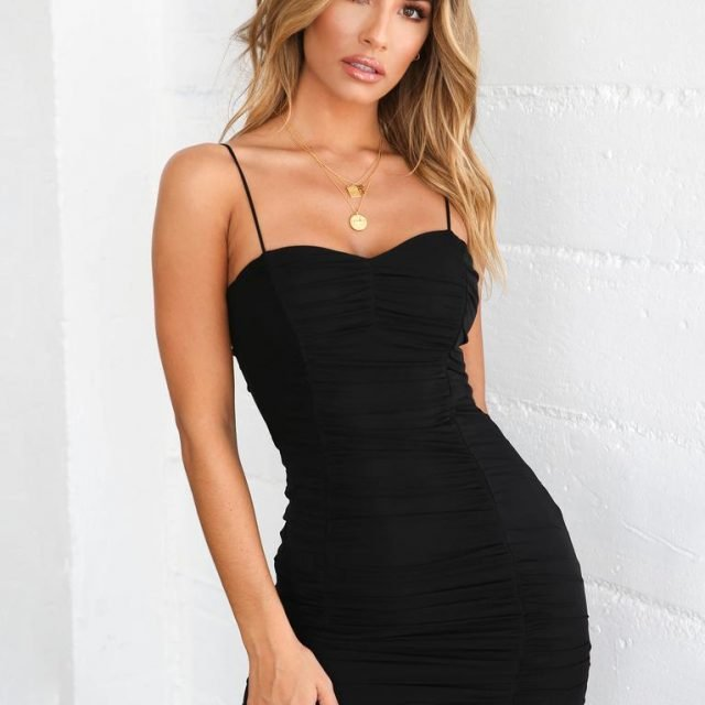 Spaghetti straps ruched black short dress for party