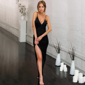 Backless black party wear maxi dresses