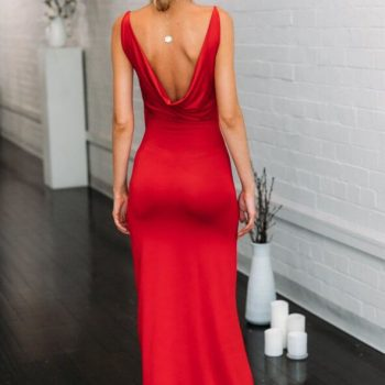 High slit backless maxi red slip dress