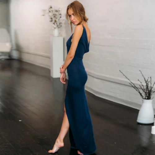 High slit backless maxi navy slip dress