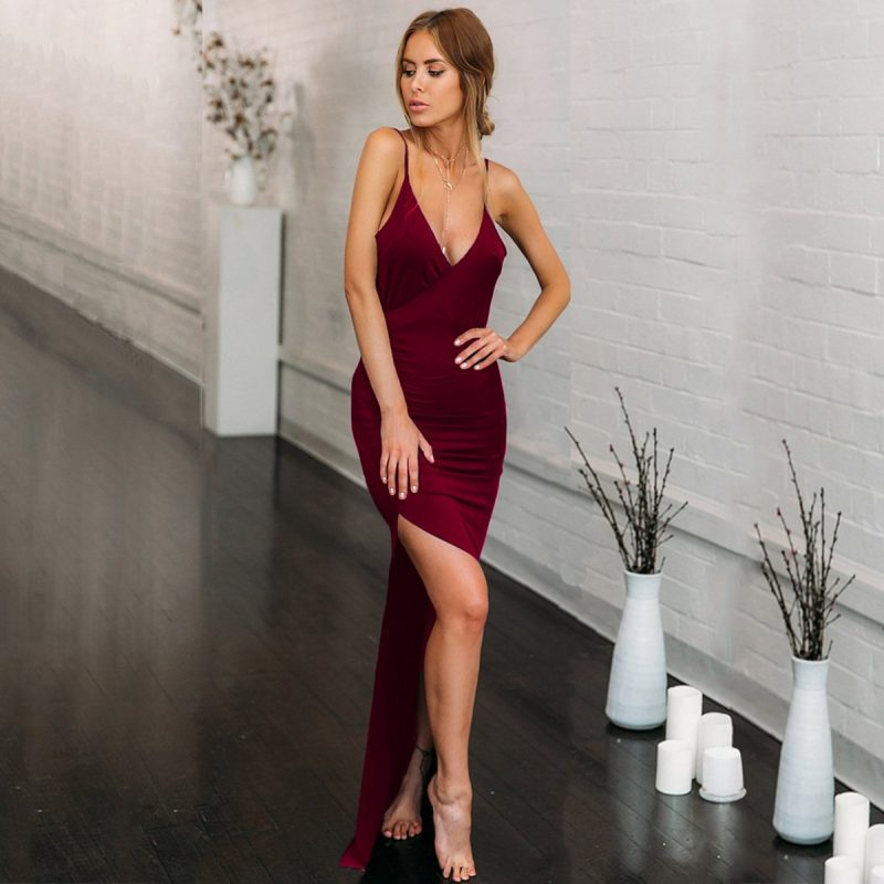 High slit backless maxi burgundy slip dress