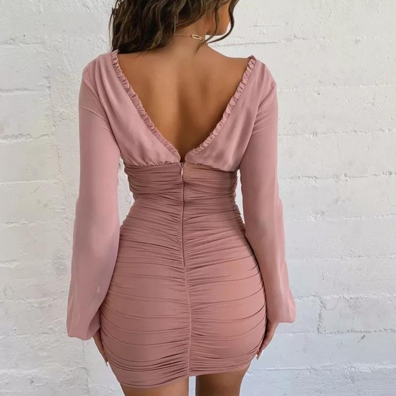 Sexy pink ruched mini dress