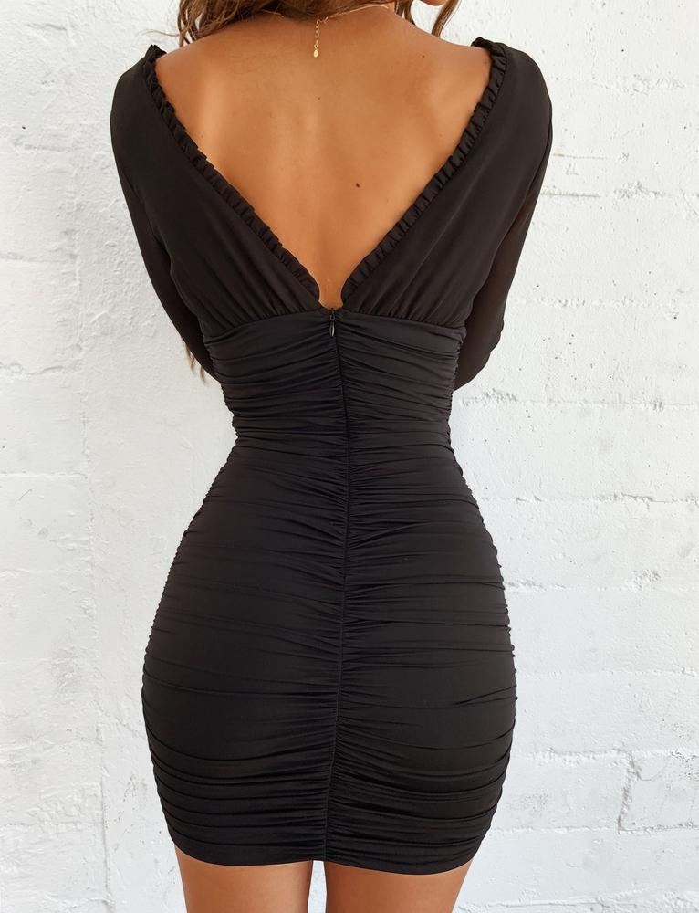 Black ruched bodycon dress mini