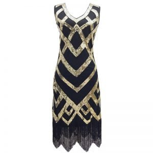 1920s flapper costume in gold and black