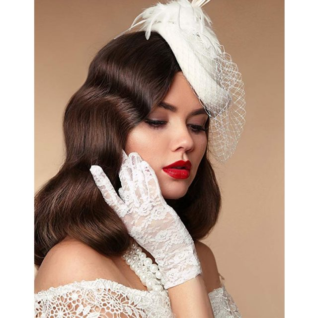 1920s lace gloves for women in white