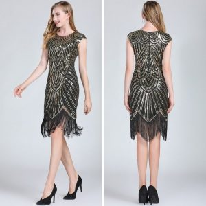 Black and gold flapper costume for women