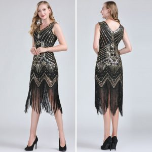 black and gold tassel dress for women
