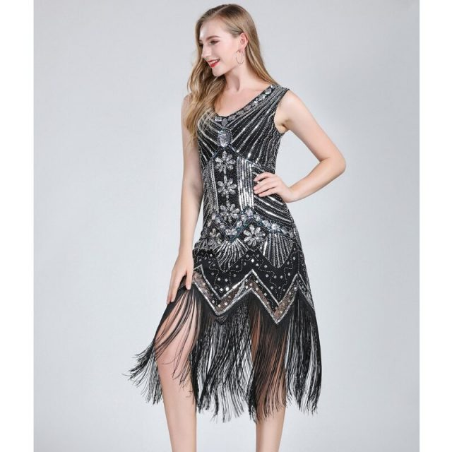 black and silver 1920s fashion costumes