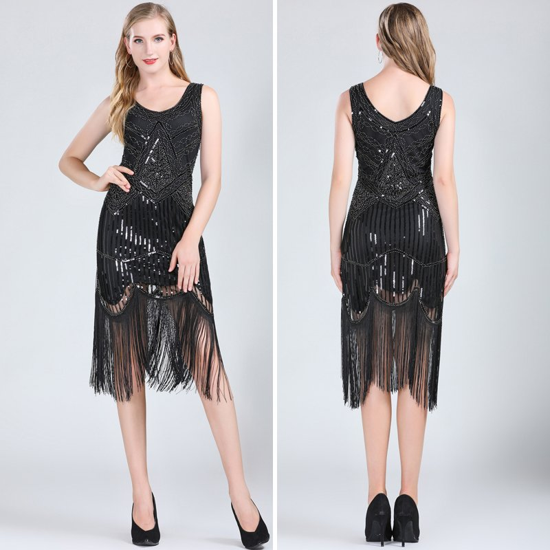Black and silver fringe dress for women
