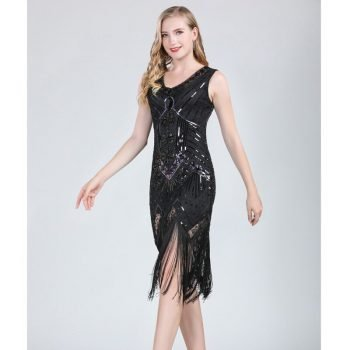 black flapper dress costume for women