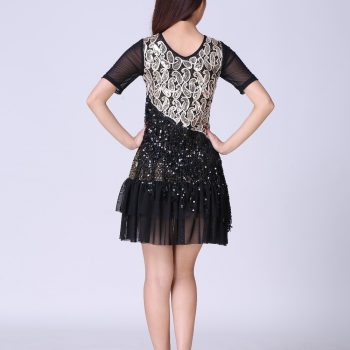 Black flapper dress with sleeves