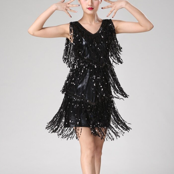 Black fringe sequin dress for women