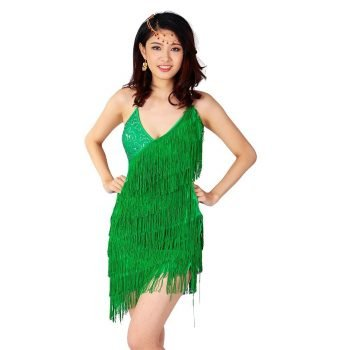 Green tassel dress for women