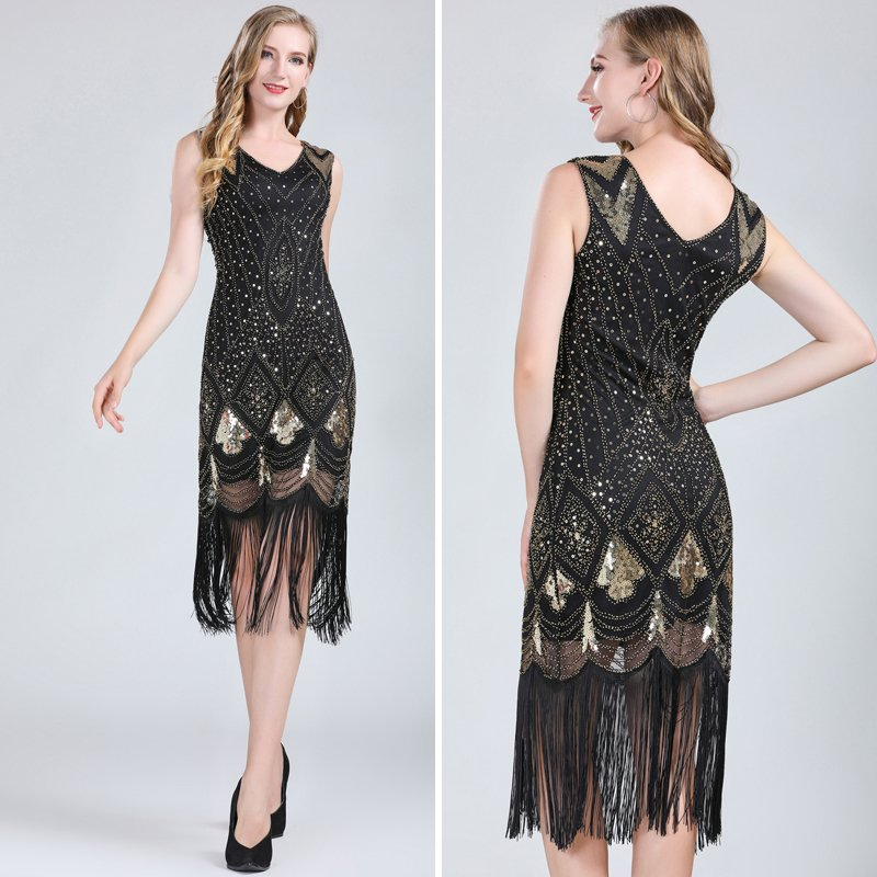 Black gold flapper dress for women