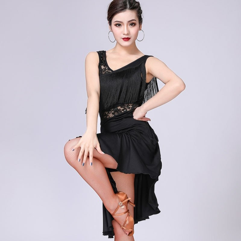 Black lace fringe dress for women