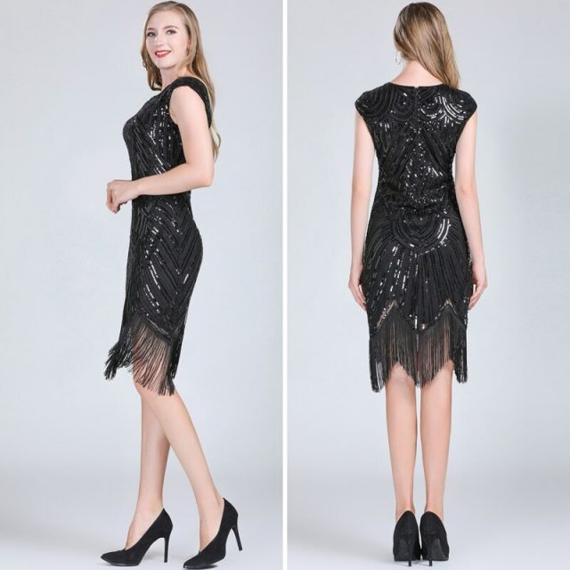black roaring 20's dress for women