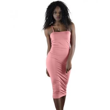 Casual midi pink spaghetti dress