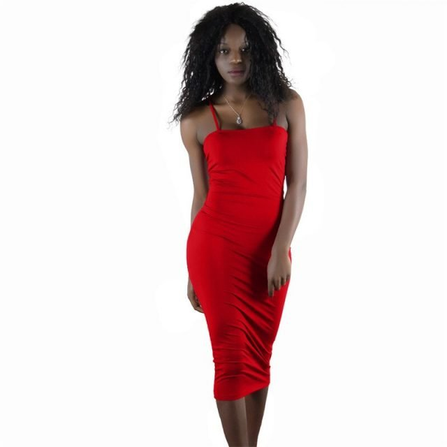 Casual red spaghetti strap cocktail dress