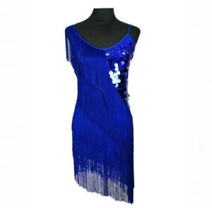 Fringe festival outfit for women in blue