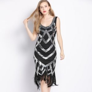 Gatsby flapper dress in black and silver