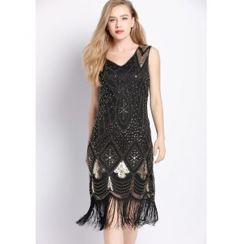 Gatsby themed party dress for women in black