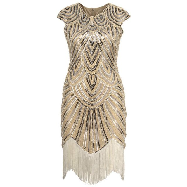 Gold flapper dress costume for women
