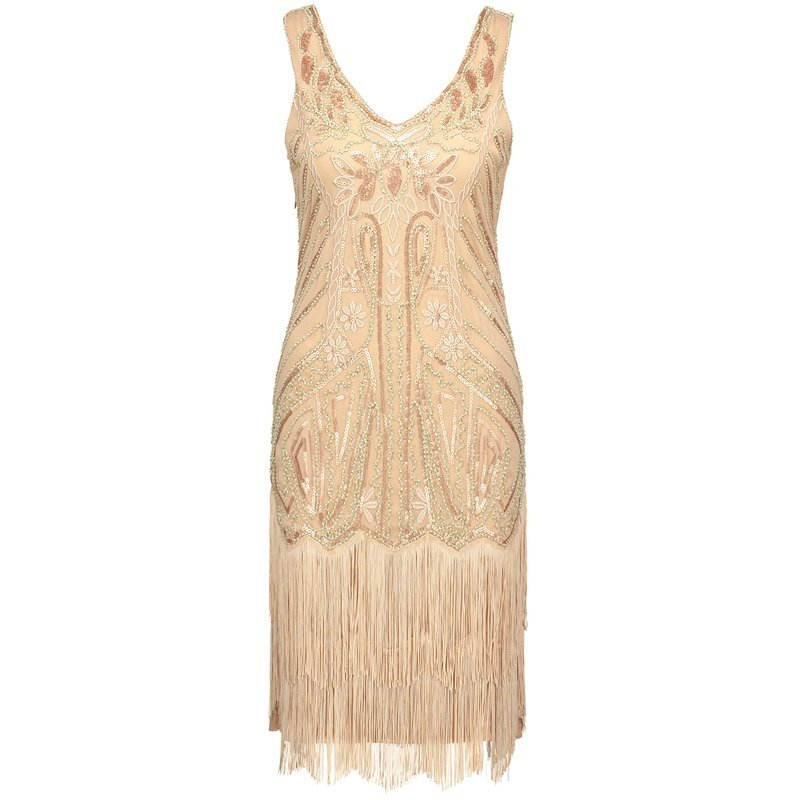 Gold fringe flapper dress for women