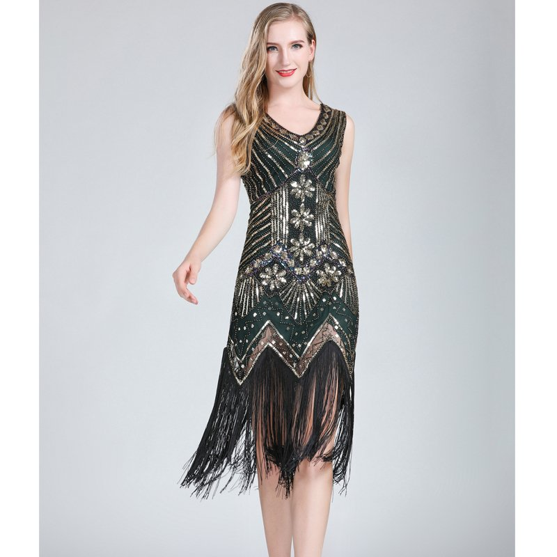 1920s gatsby dress for women in green and gold