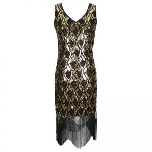 Great gatsby flapper dress in black and gold