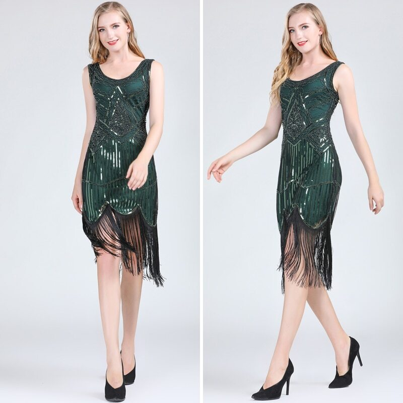 Green 1920s dress for women