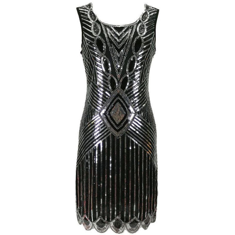 Black and silver flapper dress for women