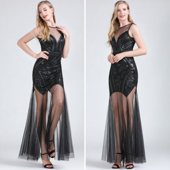 Long black flapper dress for women
