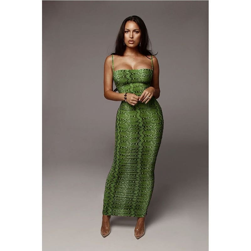 Long bodycon green snake print dress