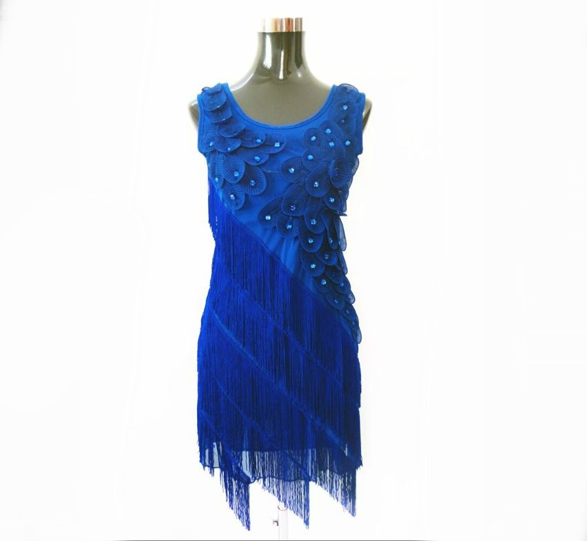 Mini dress with fringe in blue