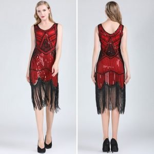 red and black flapper dress for women