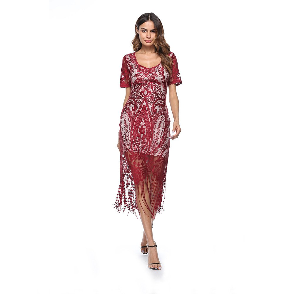Red flapper dress with sleeves