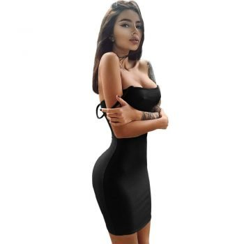 Sexy black spaghetti strap mini dress