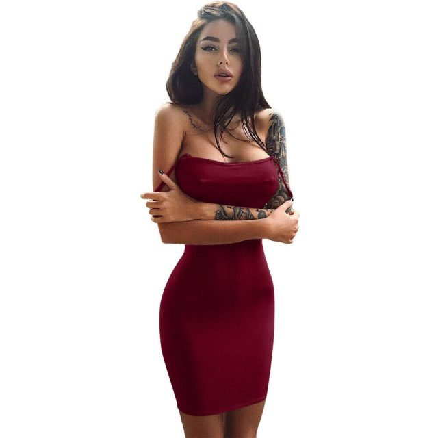 Sexy burgundy spaghetti strap dress