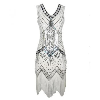 white fringe flapper dress for women