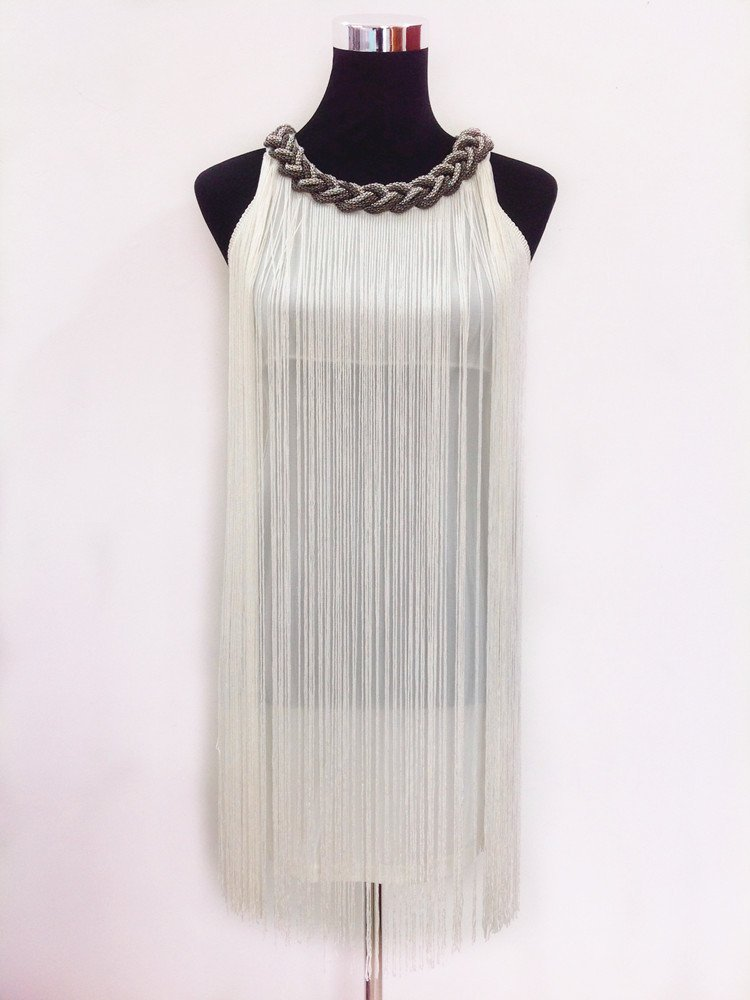 White tassel dress for women