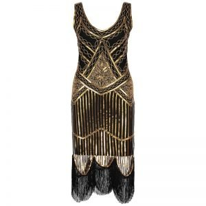 Womens flapper dress in black and gold