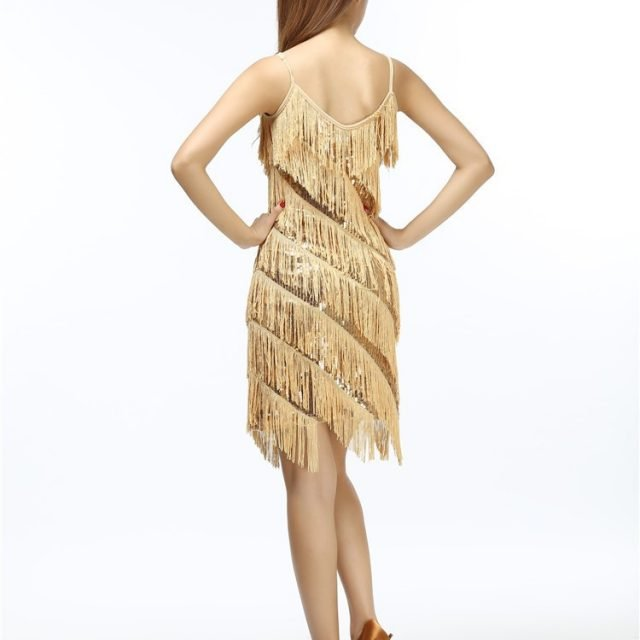gold fringe dress for women