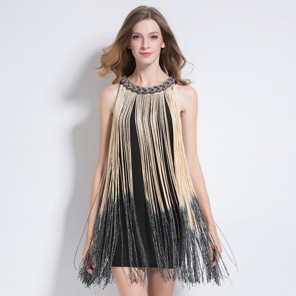 Beige fringe dress for women